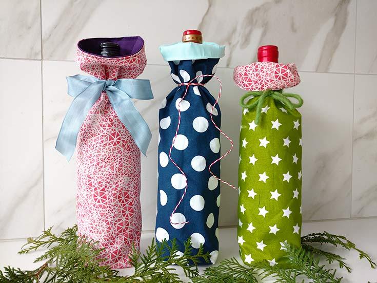 Maak je eigen stoffen cadeauverpakking voor een fles wijn